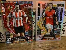 2 Match Attax 2013/14 soccer cards - Jack Wilshere - Hundred Club, Adam Johnson