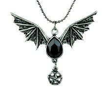 Small Bat Wing Black Stone Pentagram Necklace Gothic Jewelry Alternative Grunge