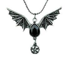 Small Bat Wing Black Stone Pentagram Necklace Gothic Jewelry Alternative Grunge