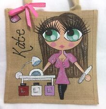 Personalised Handpainted Nail Technician Manicurist Jute Celebrity Hand Bag Gift