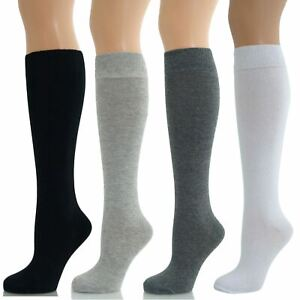 6 and 12 Pairs Ladies Girls Long Knee High Plain Cotton Socks Size 4/7 12/3 9/12
