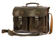 16 Inch Waxed Leather Messenger Bag Backpack Briefcase in Satchel Style