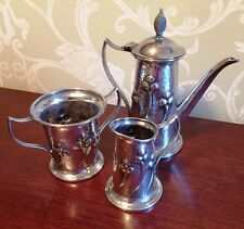~ENGLISH ARTS & CRAFTS~ Silverplate 3 pc. Coffee Set circa 1905