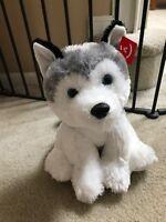 Promo Husky Sitting Standing Puppy Dog Gray White Plush Stuffed Animal AU50269
