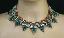 Sterling Silver Necklace Beautiful Handmade Tibetan Turquoise Stone Tribal CV38