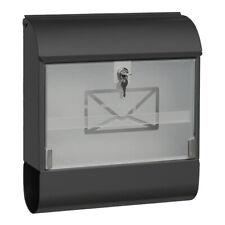 Briefkasten Wandbriefkasten Anthrazit abschließbar Glasfront Regendach 46,7cm