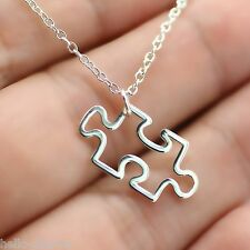 PUZZLE PIECE NECKLACE - 925 Sterling Silver Charm *NEW* Autism Awareness Jigsaw