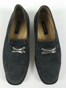 Bachrach Grey Suede Leather Slip On Size 9.5 M Loafers Casual Dress Hand Made