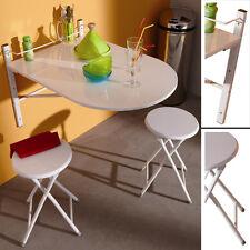 Wand - KLAPPTISCH inkl. 2 Klapp - HOCKER weiß Wandtisch Klappstuhl Küchentisch