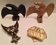 Antique Iron 1897 Eagle Roof Snow Guards+Door Knocker+Match Box-brass