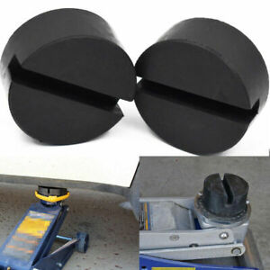 2X Rubber Slotted Frame Rail  Floor Jack Disk Pad Adapter For Pinch Weld Side ++