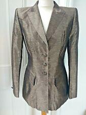 NEW Escada Blazer EU 36 UK 10 Bronze Brown Margaretha Ley Silk Blend Jacket BNWT
