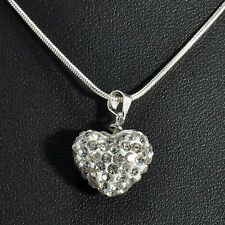 Fashion Women's Heart Crystal Charm Pendant Chain Necklace Silver Plated Jewelry