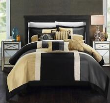 Chic Home 7 Piece Alleta Patchwork Decorative Pillows Comforter Set, King, Black