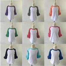 Pre-order Wholesale Girls Icing Ruffle Raglan Shirt Baseball Shirt Blank Shirt