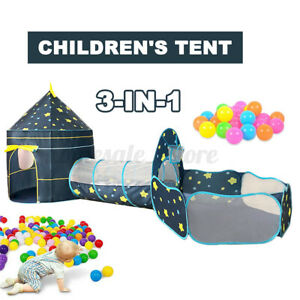 3-in-1 Play Toddler Crawl House Tunnel Tent In/Outdoor Portable Kids Ball Pit US