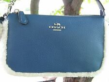 NWT COACH LARGE WRISTLET 19 IN LEATHER AND SHEARLING F64705 SILVER/SLATE/NATURAL