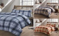 Olivia Rocco Tartan Check Flannel100% Brushed Cotton Duvet Cover Bedding Sets