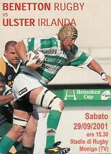 BENETTON TREVISO V Ulster-EUROPEAN CUP 29 SETTEMBRE 2001 programma Rugby