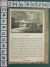 C1840 antica stampa ~ Sir John Dryden Mansion & Famiglia con testo Canons Ashby