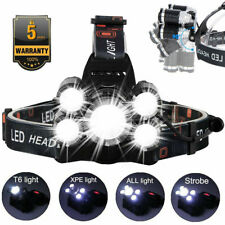 50000LM 5 Head CREE XM-L T6 LED 18650 Headlamp Headlight Flashlight Torch Light