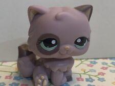 Littlest Pet Shop Lps Authentic 1027 Purple Persian Cat Patch Aqua Blue Eyes
