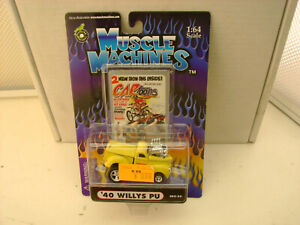 MUSCLE MACHINES CARTOONS 1:64 SCALE YELLOW '40 WILLYS PU NEW ON CARD