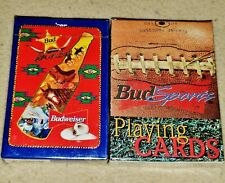 1990s Sealed Budweiser Round-up & Bud Sports Decks of Playing Cards in Boxes