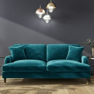 Payton Teal Blue Velvet 3 Seater Sofa