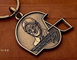 Vintage Lou Holtz Notre Dame Brass Keychain Loyalty Football Helmet w Portrait +
