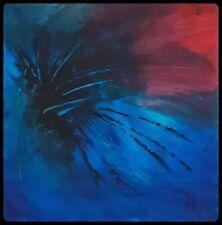 Peinture abstraite contemporaine acrylique bleue et rouge, abstract painting