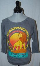 THE LION KING WOMENS JUNIORS XS POLY COTTON KNIT 3/4 SLEEVE TOP HEATHER GRAY