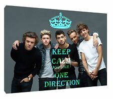 KEEP CALM AND LOVE ONE DIRECTION PHOTO PRINT ON WOOD FRAMED CANVAS WALL ART