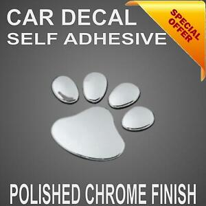 Chrome Paws Car Decal Stickers Cute Dog Cat Paw Print puppy