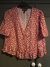 New Look Red Floral Peplum Button Blouse Size 10