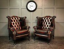 Pair of Chesterfield Queen Anne High Back Wing Chairs in Real Italian Leather