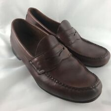 Weejuns Mens Penny Loafers Shoes Brown Leather Slip-On Moc Toe Casual 40.5 D