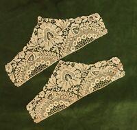 Antique Lace Cuffs 1910s 1920s Cream Silk Pair Of Cuffs Edwardian Salvage