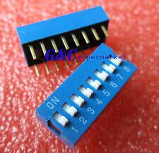 10PCS Blue 2.54mm Pitch 8-Bit 8 Positions Ways Slide Type DIP Switch J10