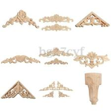 Rubber Wood Carved Corner Onlay Applique Carving Furniture Home Decor Unpainted