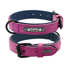Personalized Dog Collar Green Pink Purple Brown Blue XS S L XL Name Tag Leather