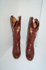 Dan Post Vtg Boots Flower Inlay Reddish Brown Stacked Heel Women's Size 8M 4119
