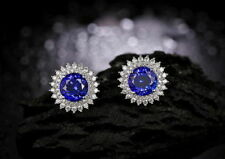 Solid 925 Sterling Silver 3.80 Ct Blue & White Round Cut Stud Wedding Earrings