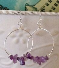 Silver & Purple Amethyst Chip Dangle Hoop Earrings. Boho Chic. February.