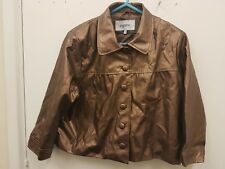 Papaya Gold  Leather Petite Bomber Jacket Coat Size UK 14
