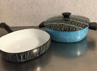 Serendipity Cookware Spaghetti String Enamel Cast Iron Set 2 Pots 1 Lid Aqua MCM