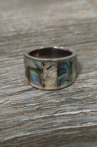 Mother of Pearl Shell Ring Real Silver Size M 1/2 (half) New
