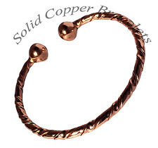 Mens Or Ladies Magnetic Therapy Bracelet Solid Copper Bangle Pain Relief  ( M6 )