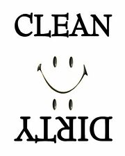 METAL DISHWASHER MAGNET Image Of White Smiley Face Clean Dirty Dishes MAGNET