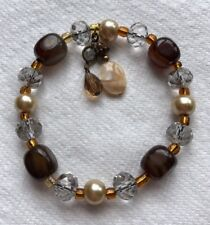 Hand Crafted Brown & Crystal Pearl Glass Beaded Bracelet Jewelry XC-15